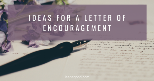 Letter of Encouragement